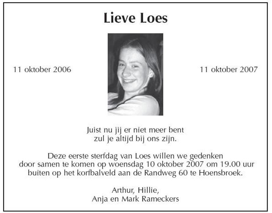 In Memoriam Loes Rameckers Herdenking
